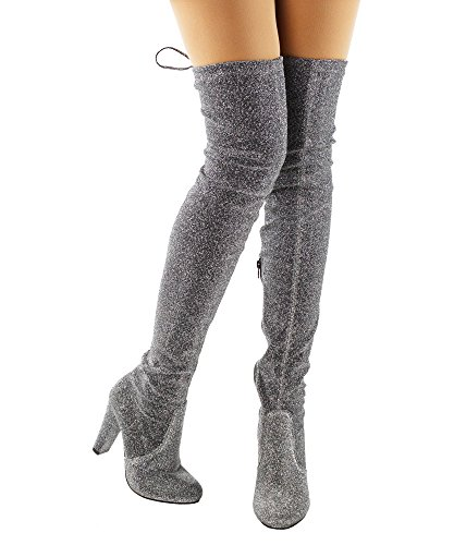 Review RF ROOM OF FASHION Radiance-01 Women Fashion Comfy Vegan Suede Block Heel Side Zipper Thigh High Over The Knee Boots Silver (8)