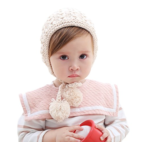 inSowni Winter Warm Crochet Hat Cap Bonnet for Baby Toddler Girl (Ivory)