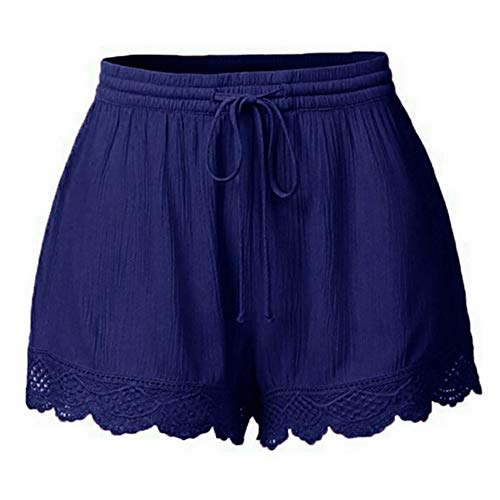 JJLIKER Womens Lace Shorts Elastic Waist Pants Workout Athletic Yoga Trouser Loose Casual Leggings Plus Size S-5XL Blue