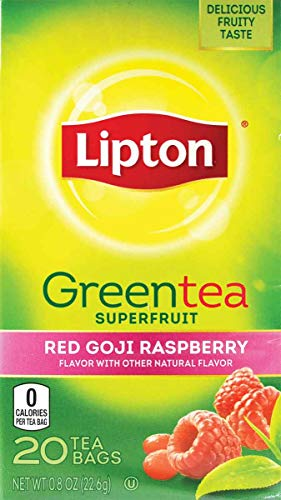 Lipton Green Tea Red Goji Raspberry 20 Count (Pack of 6)