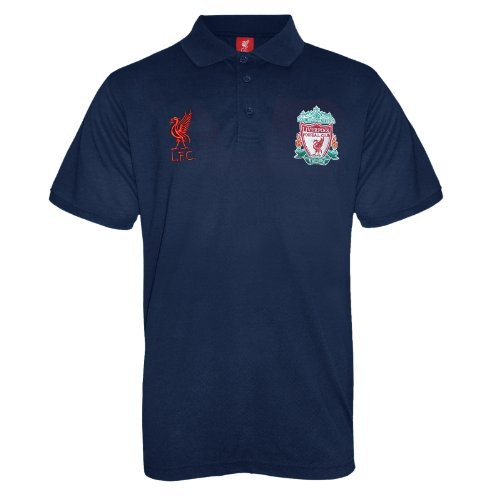 Liverpool Soccer T-shirts - Liverpool Football Club Official Soccer Gift Mens Crest Polo Shirt Navy Medium