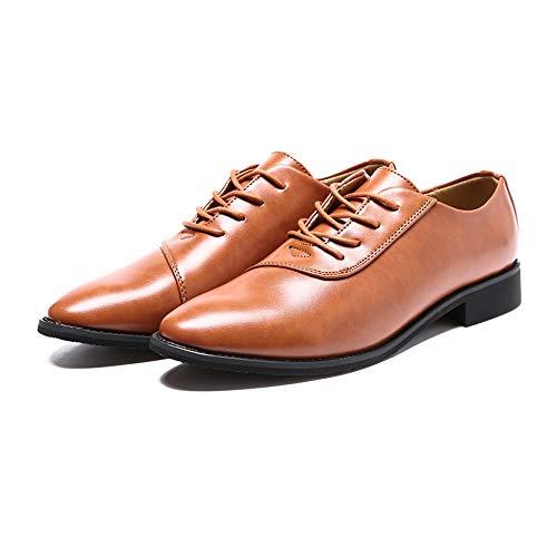 Xujw in pelle da Oxford shoes di classiche EU lavoro Scarpe a uomo Dimensione morbida 42 Marrone Marrone 2018 da Color Stringate lavorata Basse Scarpe punta rrZOq