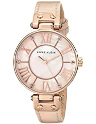 Anne Klein Women's 10/9918RGLP Rose Gold-Tone Watch with Leather Band