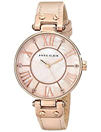 Anne Klein Women's 10/9918RGLP Rose Gold-Tone Watch with Light Pink Leather Band
