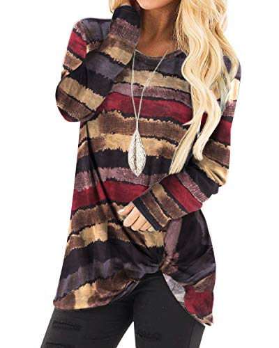 YOINS Women's Striped Round Neck Long Sleeve Loose Fit T-Shirts with Crossed Front Design Blouse Tops