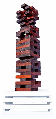 Giant Tower Game (60 Blocks) - Dark Walnut with Whitewashed 2-in-1 Storage Crate / Game Table | Stacks Up To 5ft During Gameplay | Water & Weather Resistant | Best Outdoor Jumbo Wood Stacking Game by Splinter Woodworking Co