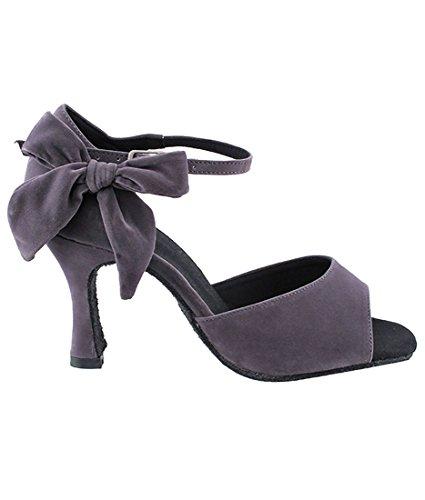 3 Ballroom Dance Shoes Latin Brush Women Tango Fine Salsa for Very Grey SERA7010 Heel Bundle Foldable Inch wRqTnvXx