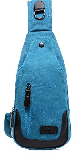 AllhqFashion Femme Toile Sacs à bandoulière Cyclisme Zippers Sacs à bandoulière Bleu