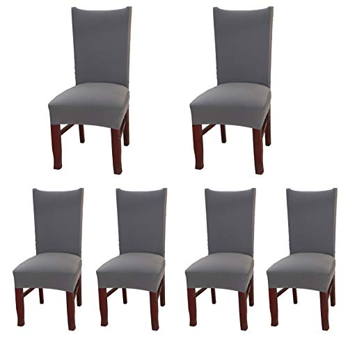 SO WHAT Soft Spandex Fit Stretch Removable Washable Short Dining Chair Protector Cover Seat Slipcover for Home Party Hotel Wedding Ceremony 6PC