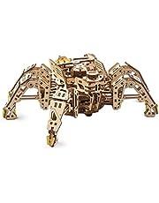 UGEARS Hexapod Explorer 3D-pussel – mekaniska spindelrobotmodellsatser för vuxna med kraftfull fjädermotor – 3D-träpussel för vuxna och barn – 3D-pussel trärobotkit (går upp till 3 m)