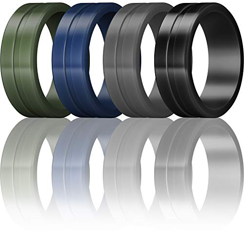 ThunderFit Men's Silicone Rings 4 Pack Rubber Wedding Bands (Dark Blue, Dark Green, Dark Grey, Black, 11.5-12 (21.3mm))