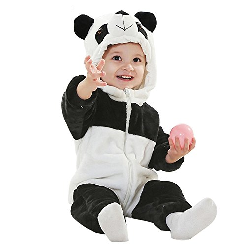 Tom_s Toddler Baby Rompers Animal Jumpsuit Autumn Winter Outfits Infant Hooded Flannel Costume (Panda(Thin), 70CM(2-7months))