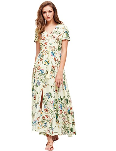 [Milumia Women's Button Up Split Floral Print Flowy Party Maxi Dress Yellow XL] (Rayon Womens Party Dress)