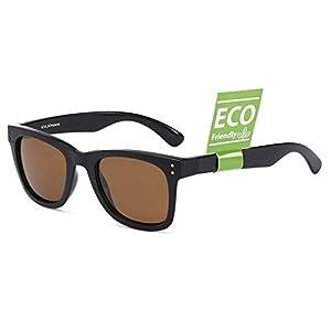 CAXMAN Unisex's Polarized Classic Wayfarer Sunglasses TR90 Unbreakable Frame for Men Women, Black Frame Brown Lens, 51mm