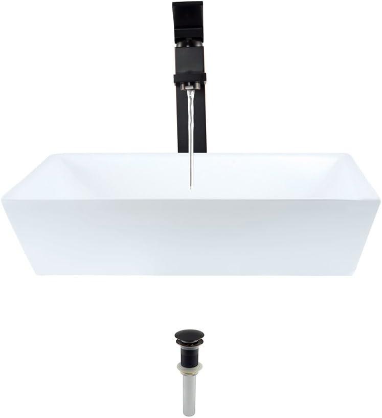 V370-White Porcelain Vessel Sink Antique Bronze Ensemble with 718 Vessel Faucet Bundle - 3 Items: Sink, Faucet, and Pop Up Drain