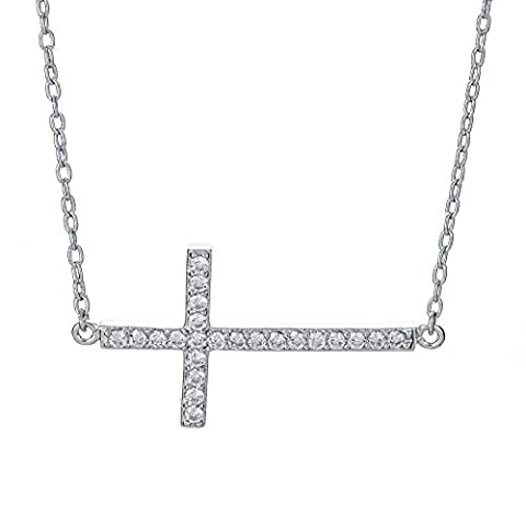 Sterling Silver Pendant Necklace with Horizontal Sideway Cross CZ Pave Charm, Rhodium Plated 925 Silver, Adjustable Chain Length 16