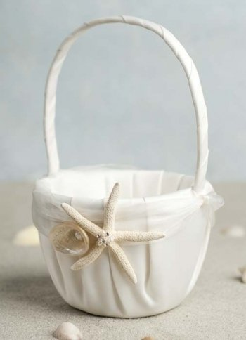 Wedding Collectibles Starfish & Shell Beach Wedding Flowergirl Basket: Basket Color: (Beach Wedding Colors)