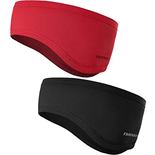 The Friendly Swede Headband - 2-Pack - Sweatband, Ear Warmer, Sports Headband for Running, Cycling, Workout, Hiking, Motorcycle (Red+Black)