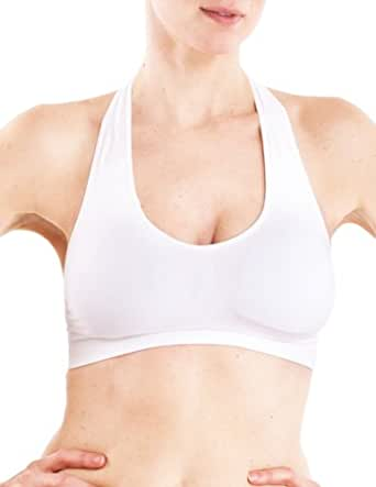 White Ladies Halter Neck Padded Sports Bra Top, USA Made