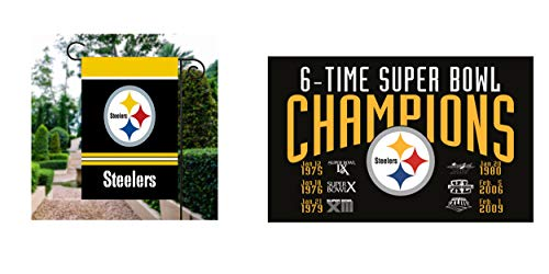 (RongJ- store NFL Pittsburgh Steelers Double 2 Sided Garden House Champion Flag)