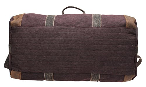 Iblue Weekend Bag Travel Duffel Bags For Men Canvas Carry On #B007(XL, coffee) by iblue (Image #6)