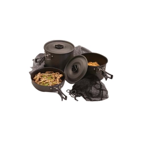 (Texsport 13414 Black Ice Cookware Set - 8.50 Diameter Frying Pan - 2.50 quart Pot - 3.50 quart Pot - Lid)