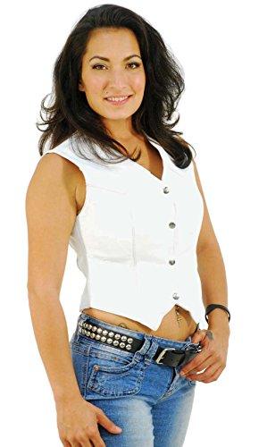 - Jamin' Leather Long Ladies White Leather Vest (XL) #VL1227W