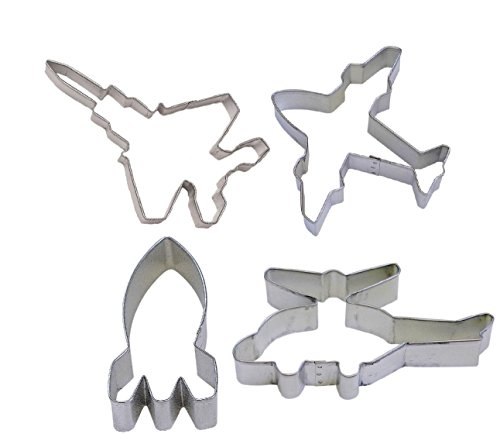 4 Piece Jet Fighter Airplane Helicopter Rocket Cookie Cutters Flying