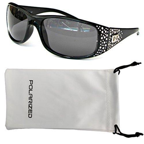 Vox Women's Polarized Sunglasses Designer Fashion Eyewear w/Microfiber Pouch (BLACK)