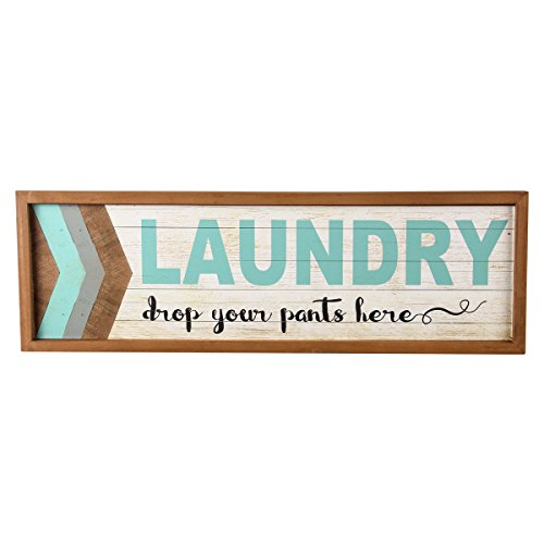 NIKKY HOME Decorative Wood Framed Wall Plaque Laundry Sign Drop your pants here, Blue