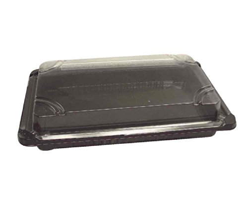 Choice-Pac L1J-2112-Blk Polypropylene Rectangular Sushi/Dim Sum Tray with Clear Raised Lid, 7