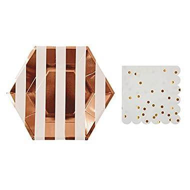 Meri Meri Small Rose Gold Striped Plates and Dot Napkins (8 plates and 16 napkins)
