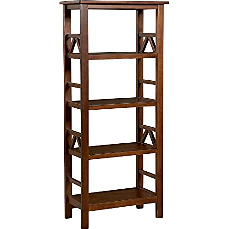 Living Space 4 Shelf Bookcase Antique Tobacco 54 Inches High Bookcase Eye Catching Design Provide Ample Storage And Display Space Easily Complement Your Homes Decor
