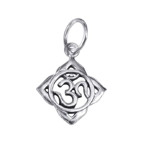 AeraVida Cute Aum or Om Prayer Sign .925 Sterling Silver Pendant