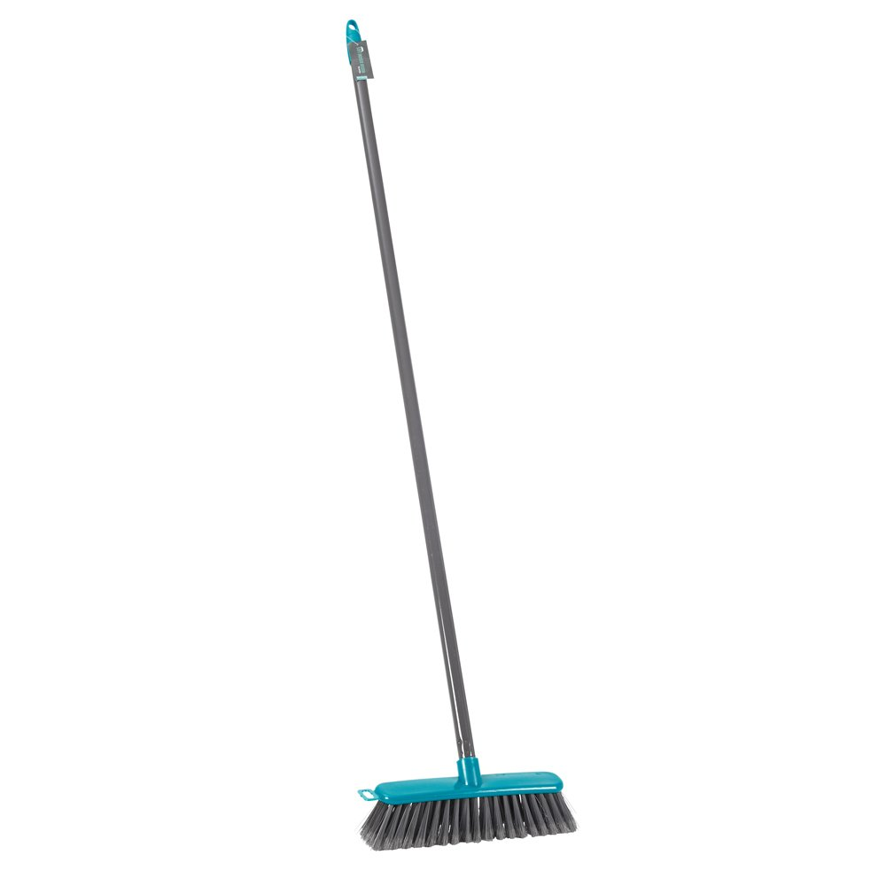 JVL Lightweight Indoor Soft Bristle Sweeping Brush Broom, Polypropylene, Teal