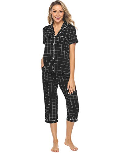 - iClosam Women's Sleepwear Plaid Short Sleeve & Cropped Trousers Button Down Pajama Sets S-XL Black