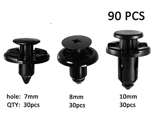 Michaelia Compatible with Subaru Push Type Retainer Fasteners Rivets Clips OEM Upgrade 3 Sizes -7mm 8mm 10mm-90PCS-Very Durable,NO Pollution,Tight-Premium Auto Nylon- 90914-0007 90913-0067 90914-0051 -