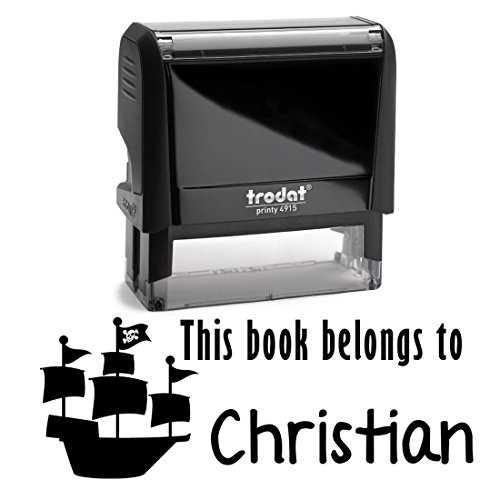 Black Ink, Personalized Pirate Ship Boat Self Inking Stamp. This Book Belongs To Children's Stamper. Customized Library Book Labels. Great Stamping Gift for Students or Teachers. ()