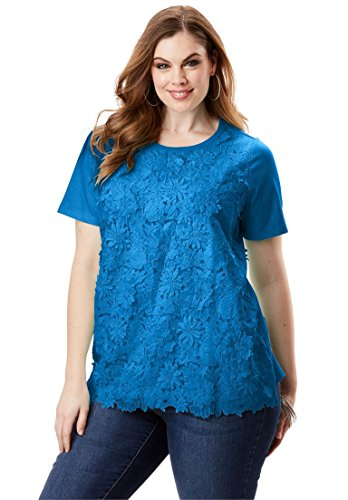 Roamans Women's Plus Size Floral Applique Tee Bright Cobalt,4X