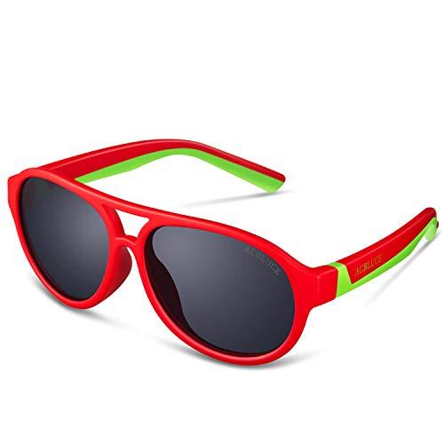 UV Protection Sport Polarized Sunglasses for Kids Girls Children Teen Junior Baseball Running Cycling, Matte Red /Green Frame Grey ()