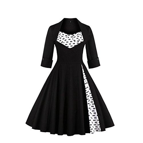 DISSA Schmetterling 38 Vintage Rockabilly M EU Kleid 50er Schwarzer Cocktail M1323 Damen Retro r7qrSX