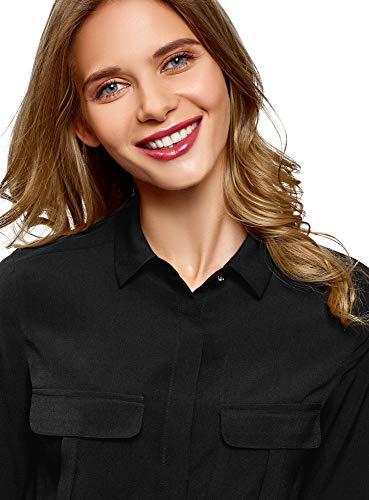 de en 2900n Femme avec oodji Ultra Poches Tissu Noir Poitrine Chemisier Fluide B8nTtZ