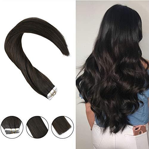 Hetto Brown Hair Extensions 12 Inch Darkest Brown #2 Hair Extensions for Fine Hair Tape in Hair Extensions Human Hair 40g Extensions for Girls 20pcs/40g