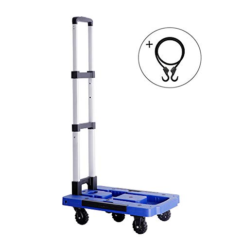 Portable Folding Hand Truck, 300 lbs Heavy Duty 5-Wheel Solid Construction, Collapsible 360° Rotating Platform Cart for Luggage, Personal, Travel, Shopping, Auto, Moving and Office Use (Blue) ()