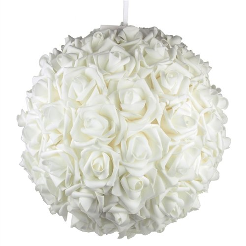 Homeford Firefly Imports Soft Touch Foam Kissing Ball Wedding Centerpiece, 14-Inch, White,]()