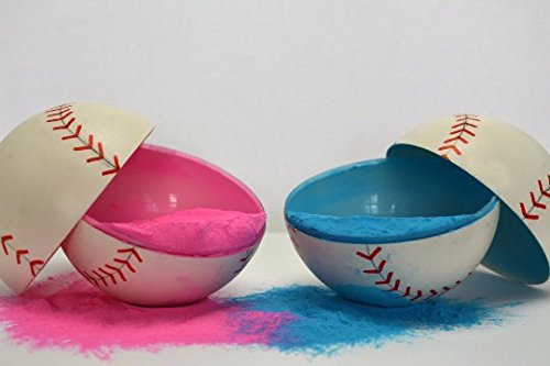 2 Gender Reveal Baseballs Pink & Blue