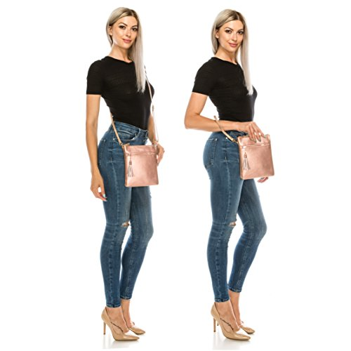 Solene Functional Bag Fashionable Leather Rose Crossbody Colors Women's Faux Variety Gold Multi Pocket aSYSrZwqn