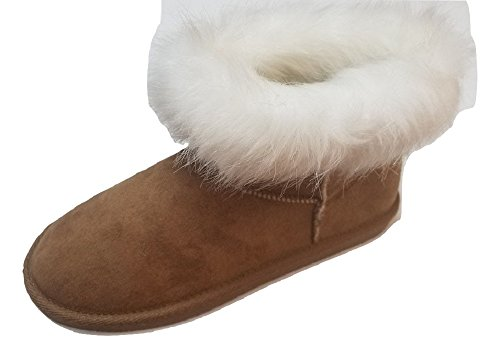 Women's Suede Faux Fur Warm Winter Ankle Snow Boots Booties Shoes (10, Brown)