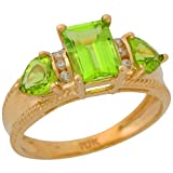 10k Yellow Gold Genuine Peridot and Diamond Accented Ladies Fancy Ring