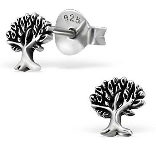 FaithOwl Tree Oxidized 925 Sterling Silver Stud Earrings